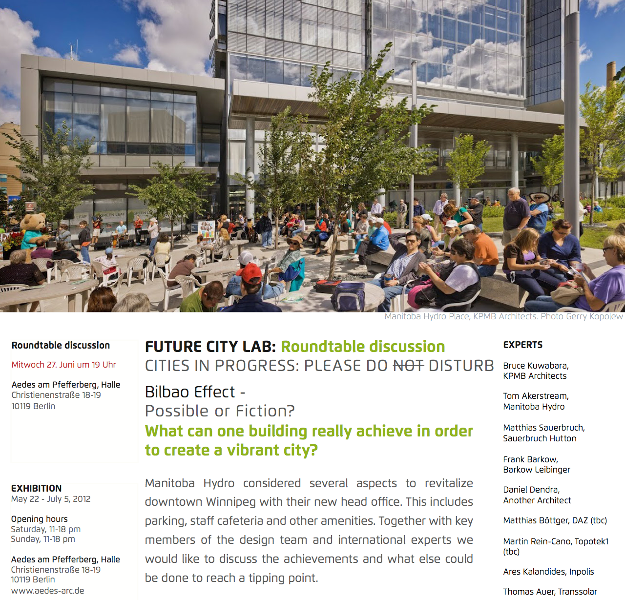 FutureCityLab roundtable: Bilbao effect utopia